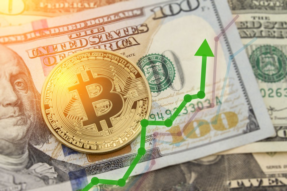 BTC market symbol cryptocurrency rising above the united states dollar