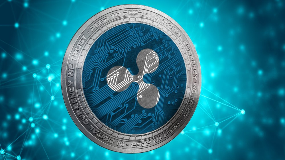 ripple coin on blue background