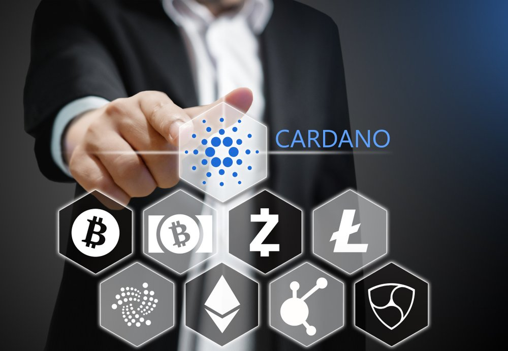 Concept photo Business man points his finger at Cardano ADA