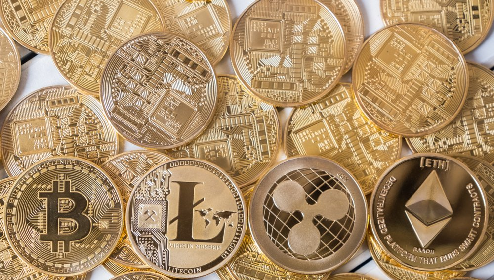 cryptocurrency on wooden table top