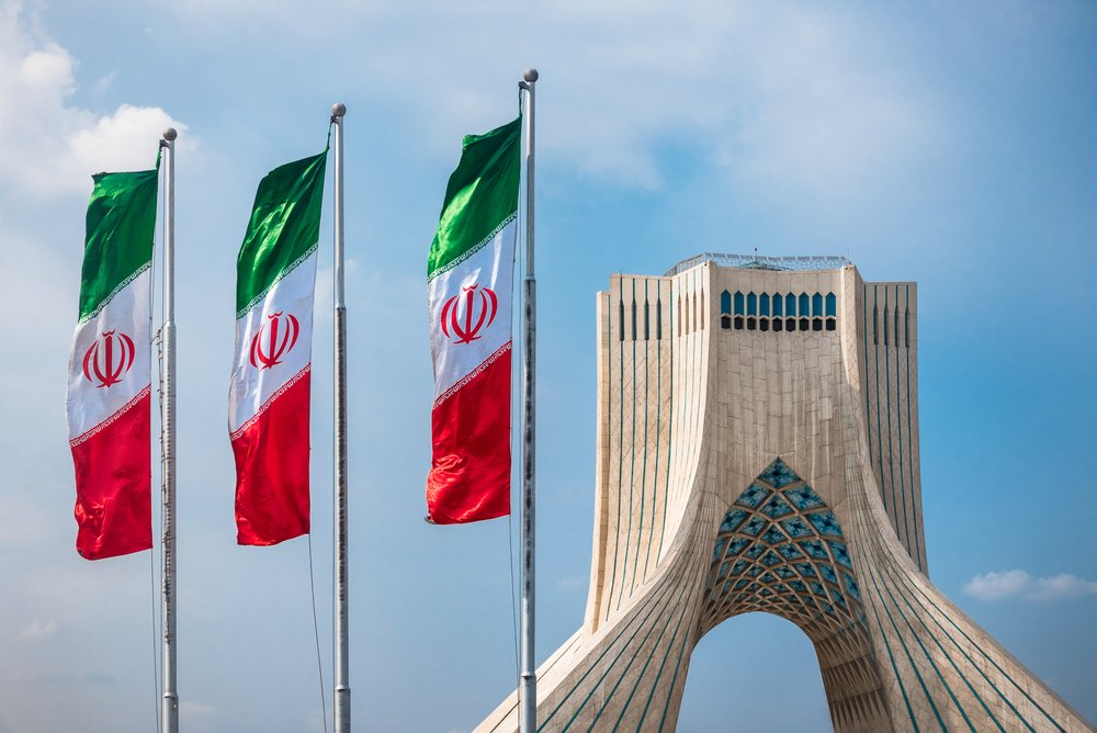 Azadi Tower with flasgs of Iran