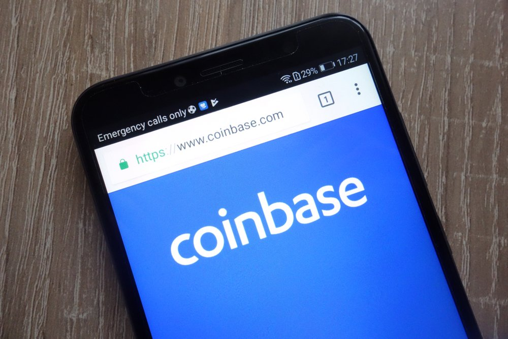 Coinbase fintech company website displayed on a modern smartphone