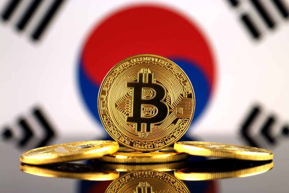 Physical version of Bitcoin and South Korea Flag