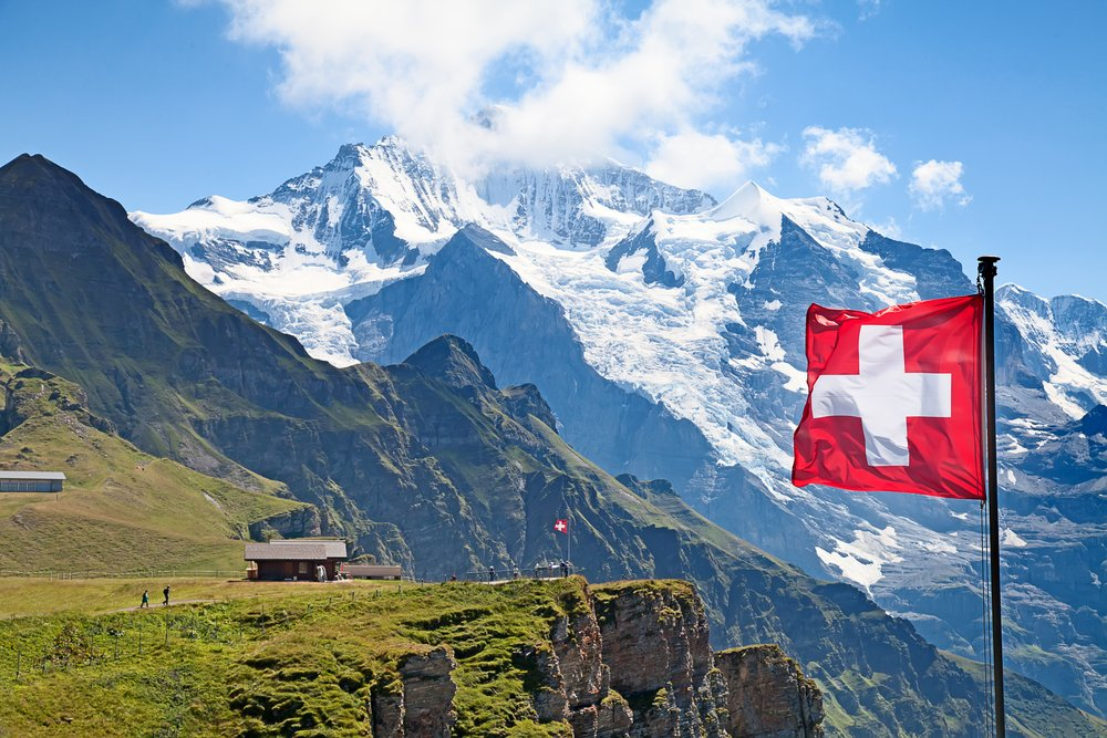 Swiss flag on the top of Mannlichen