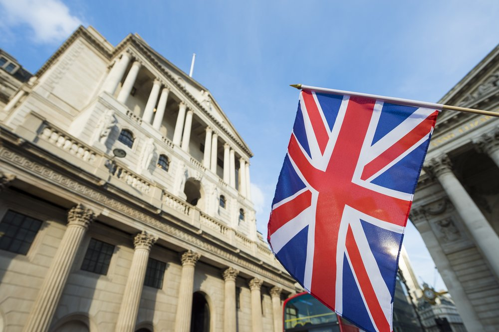 Union Jack flag and Bank of England