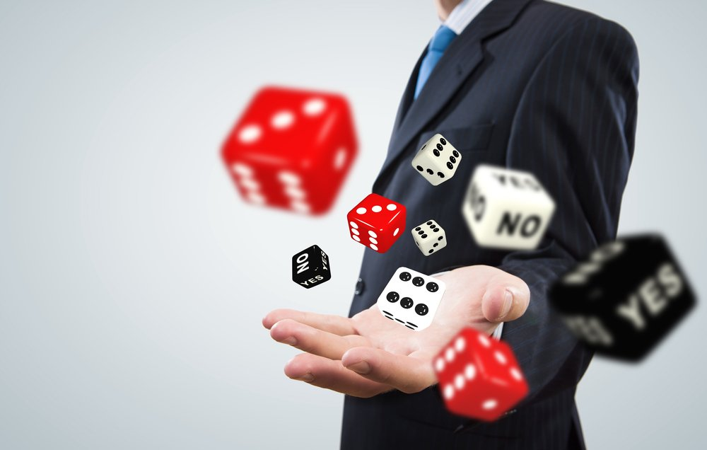businessman throwing dice
