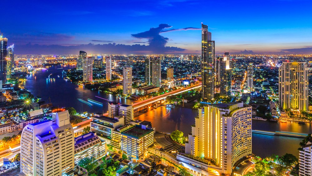 Aerial view of Bangkok City modern office buildings