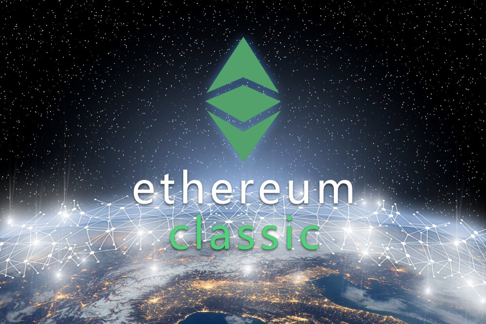 Concept of ethereum classic coin floating over world network