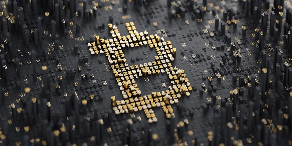 bitcoin symbol on black background