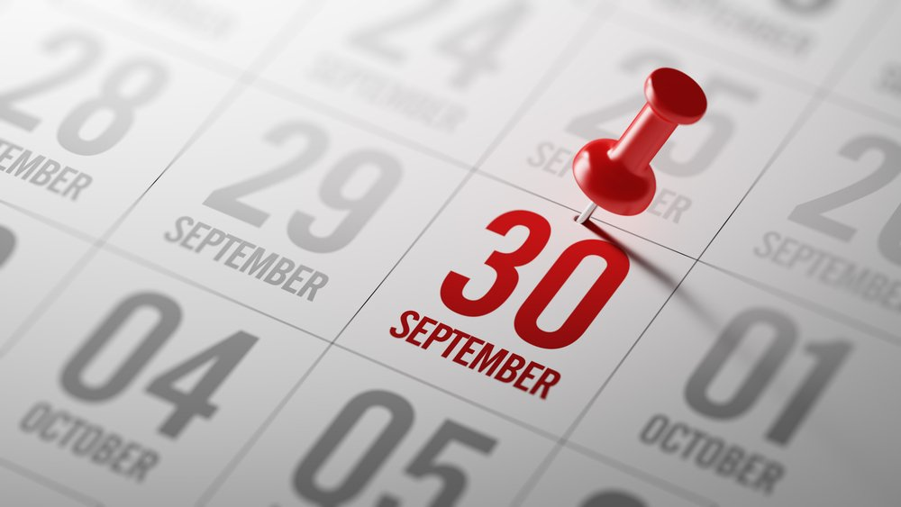 september 30th marked on calendar