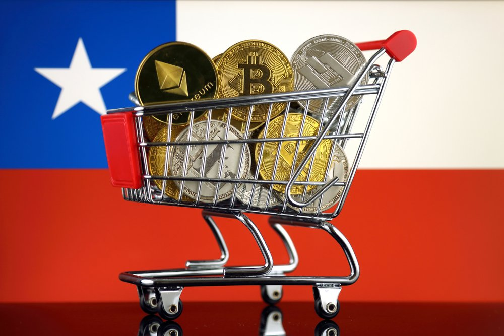 shopping trolley full of crypto on chile flag