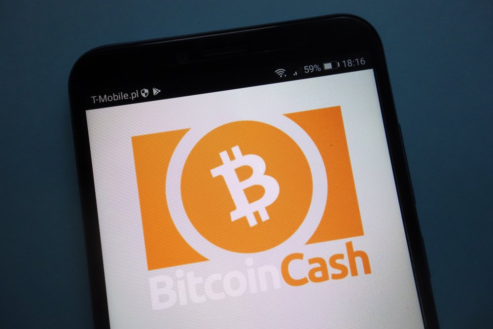 Bitcoin Cash cryptocurrency logo on smartphone