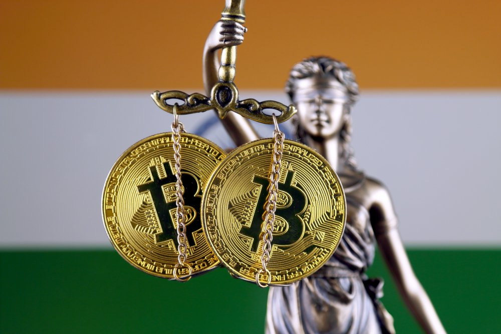 physical version of Bitcoin and India Flag