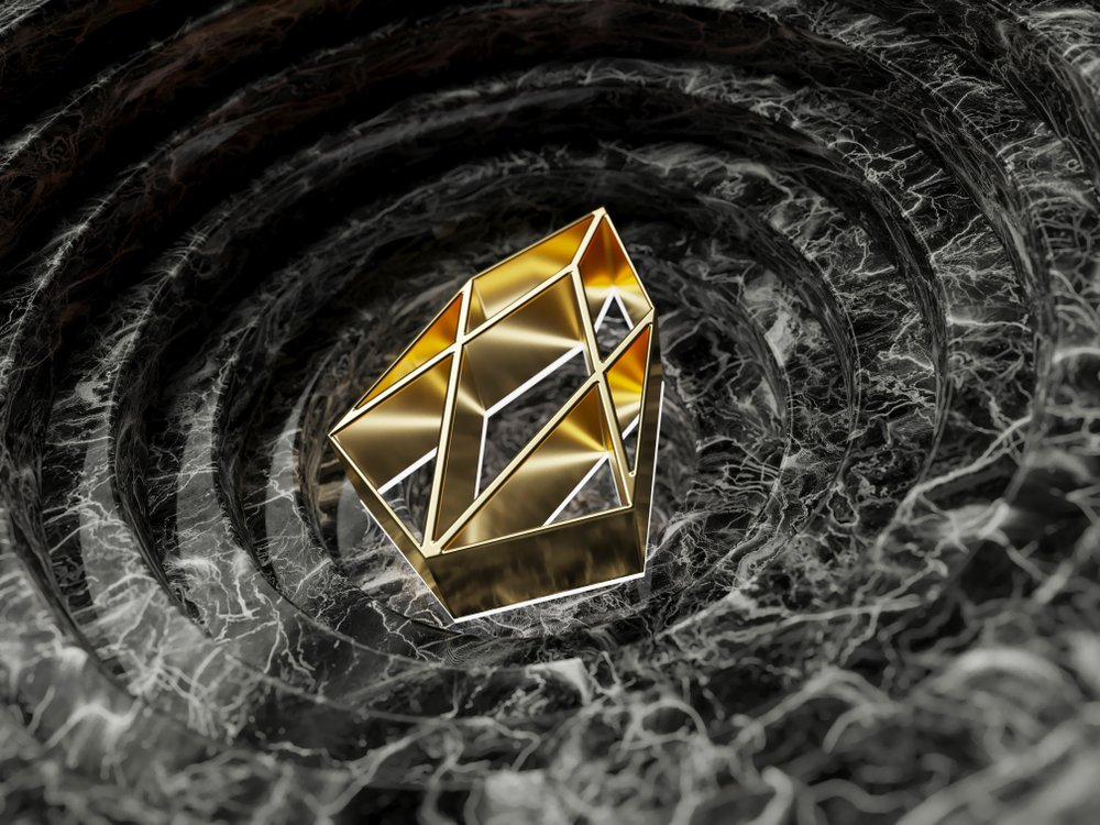 Gold EOS Symbol in the Black Marble Background